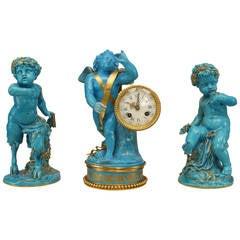 19th Century French Sèvres Three-Piece Figural Cherub Clock Set