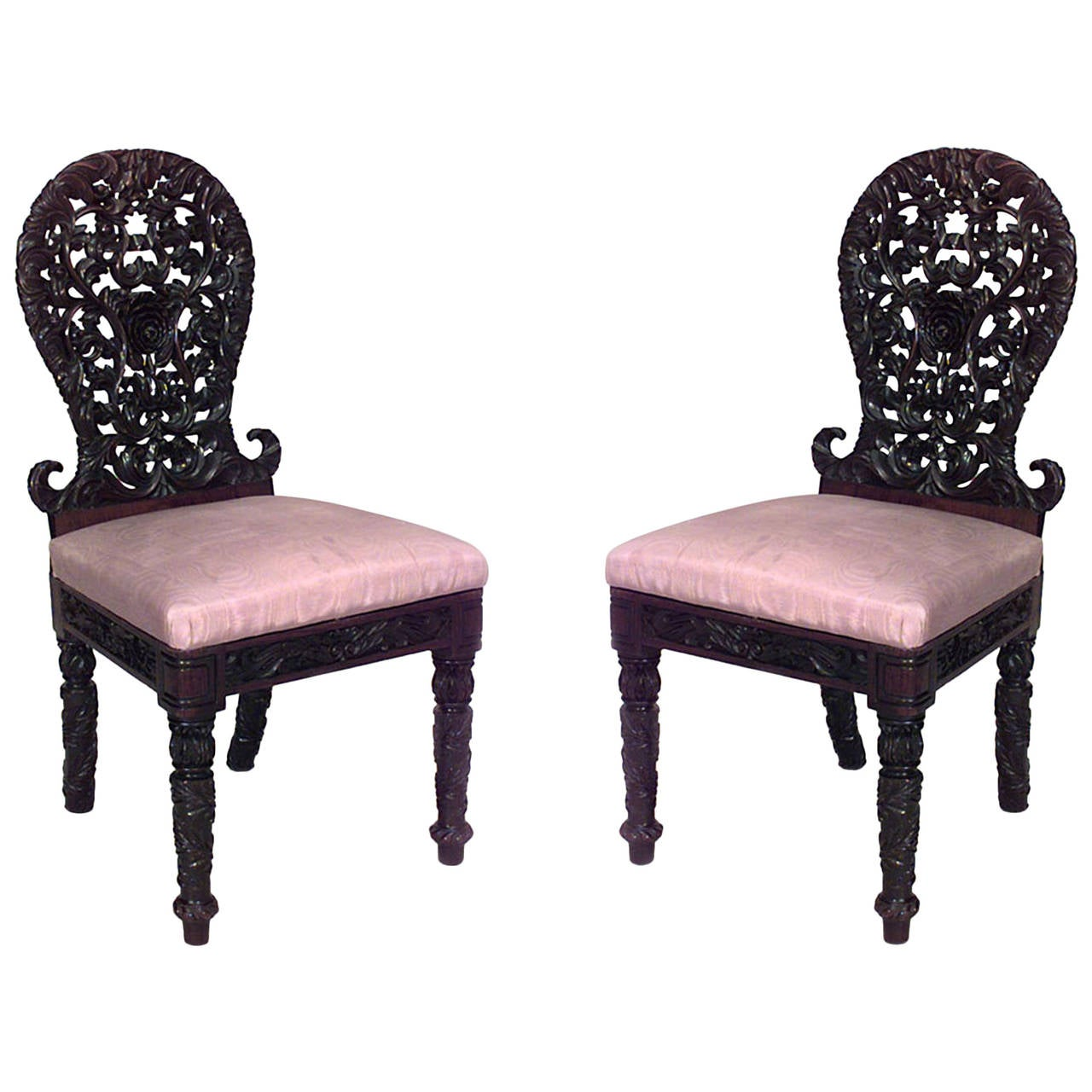 Pair of asian possibly burmese filigreed rosewood chairs for Asian chairs for sale