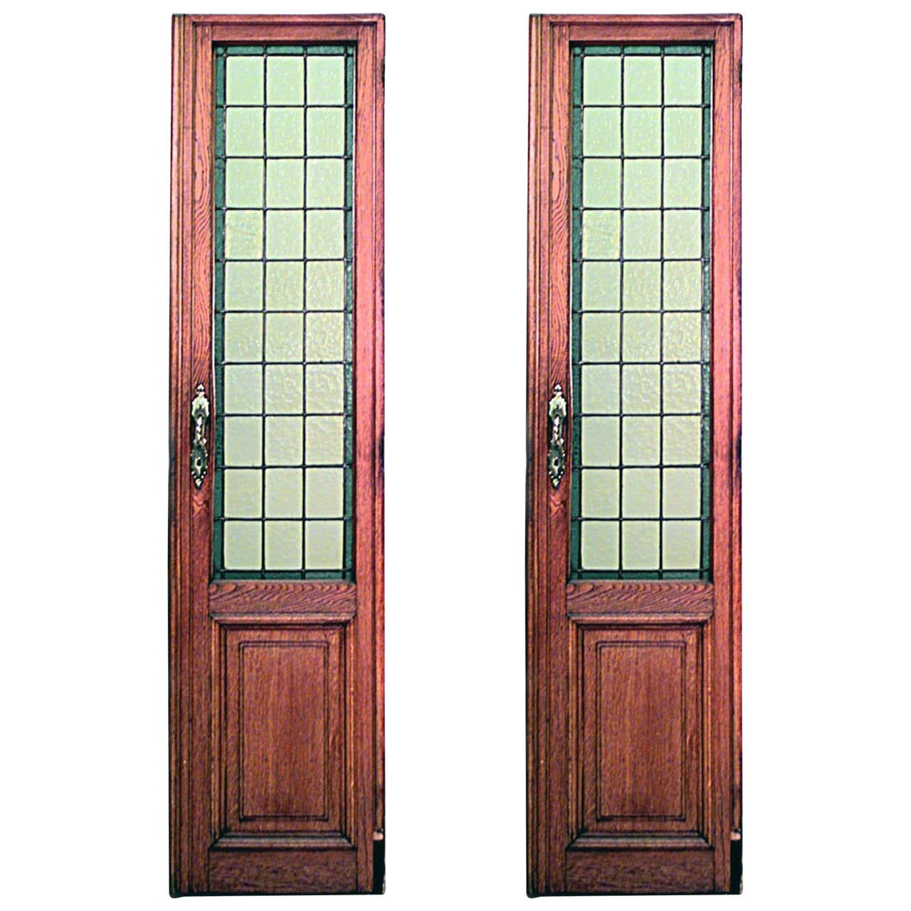 Pair Of American Mission Oak Framed Doors With Tinted Leaded Glass