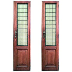Pair of American Mission Oak Framed Doors with Tinted Leaded Glass Panels