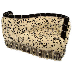 French Tufted Velvet Dalmation Print Tête-à-Tête