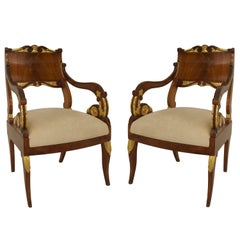Pair of 19th Century Russian Open Armchairs