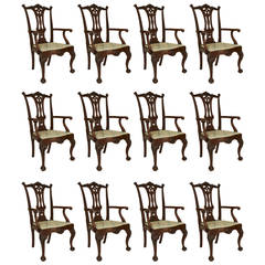 Set of 12 English Chippendale Style Mahogany Open Design Chairs