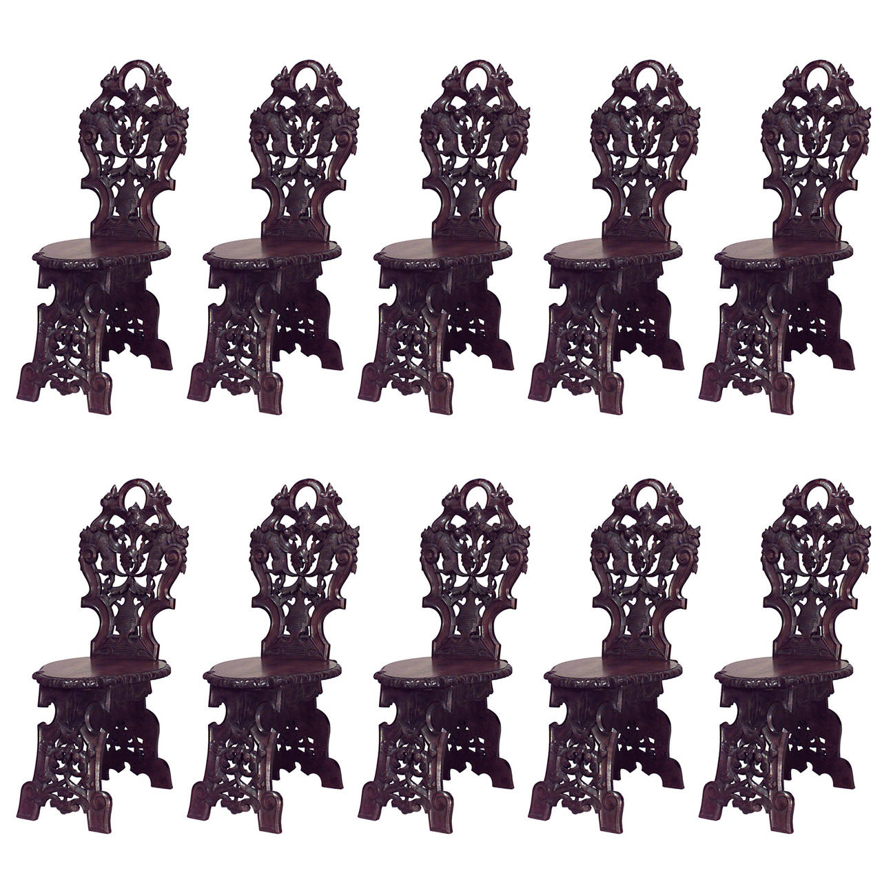 Set of 10 19th c. Rustic Black Forest Walnut Side Chairs with Carved Animals
