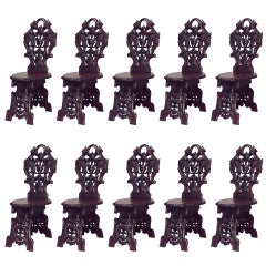 Set of 10 19th c. Rustic Black Forest Walnut Side Chairs