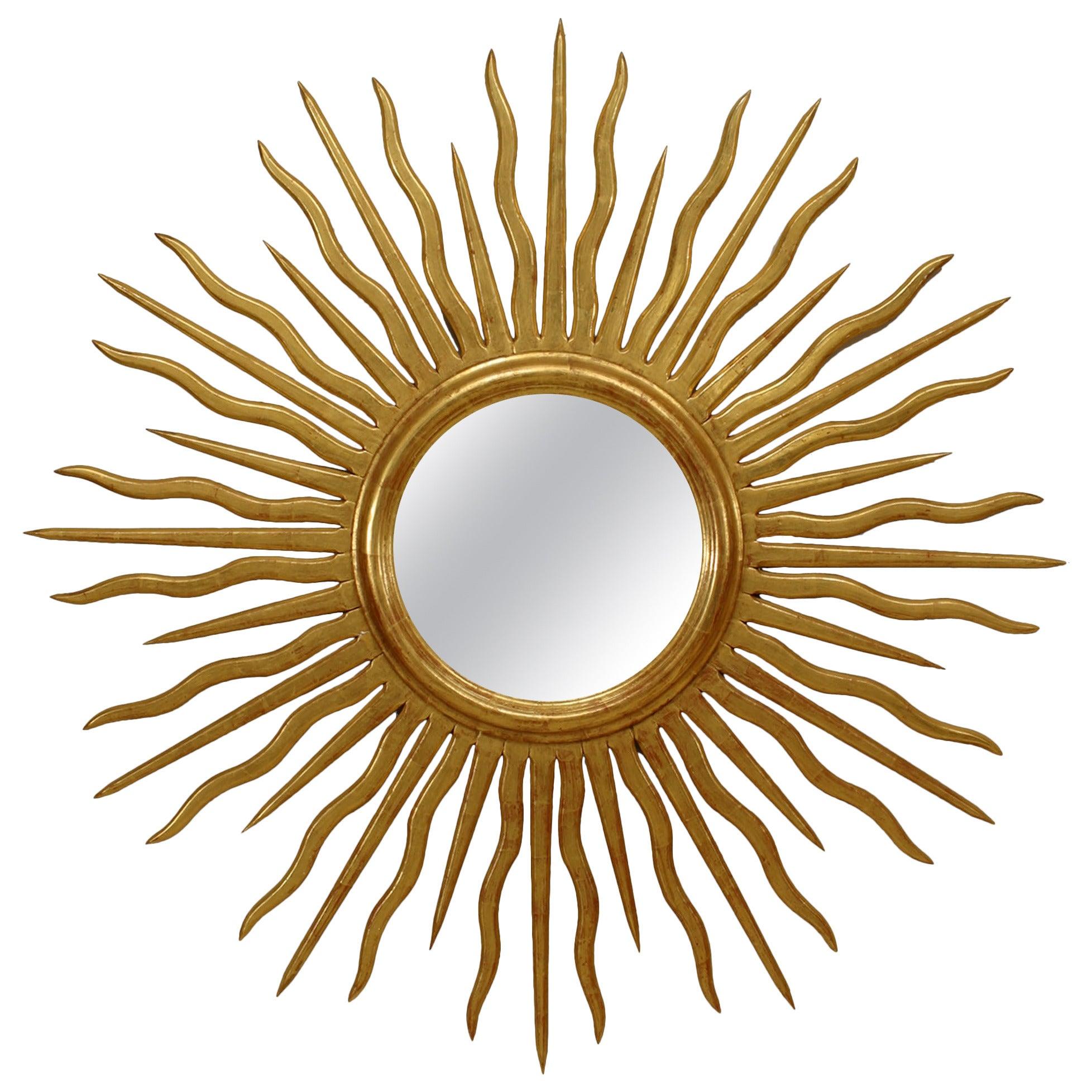 French Mid-Century Giltwood Sunburst Wall Mirror