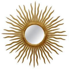 French Art Moderne Style Giltwood Sunburst Wall Mirror
