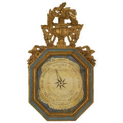 18th c. French Louis XVI Barometer with Pediment
