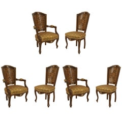 Set of Six Middle Eastern Inlaid Dining Chairs