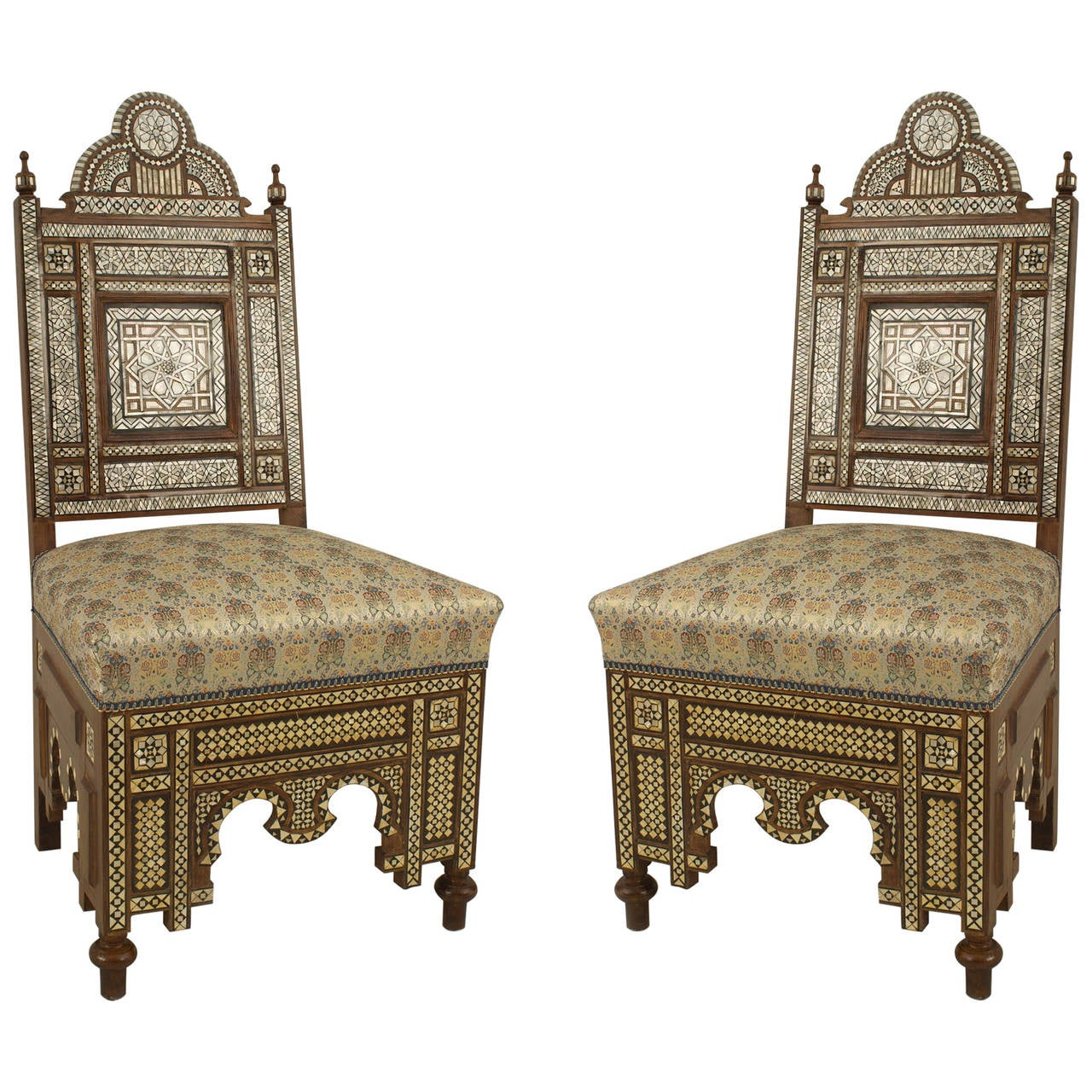 Pair Of Middle Eastern Style Pearl Inlaid Side Chairs For Sale At 1stdibs