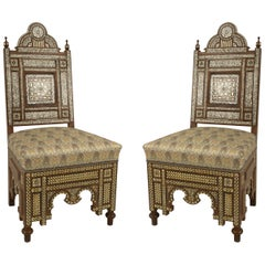 Pair of Middle Eastern Style Pearl-Inlaid Side Chairs