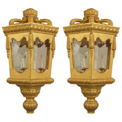 Two Italian Rococo Style Giltwood & Glass Octagonal Lanterns