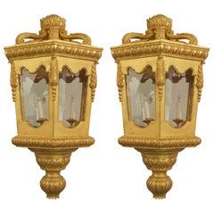 2 Italian Rococo Style Gilt Octagonal Lanterns