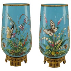 Pair of 19th Century French Mounted Blue Opaline Vases with Butterflies