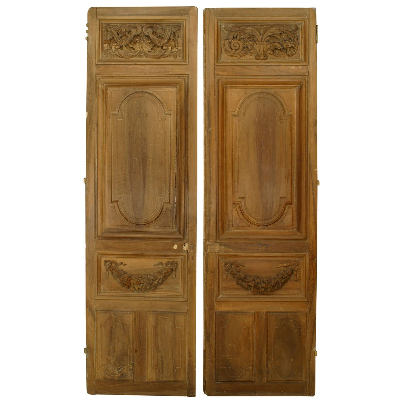 Pair of french carved wood doors for sale at 1stdibs for Wooden french doors
