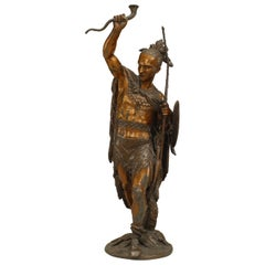 Turn of the Century Lacquered American Indian Warrior Sculpture