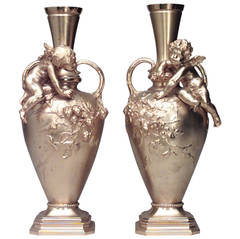 Pair of 19th c. French Ormolu Cupid Vases Signed A. Moreau