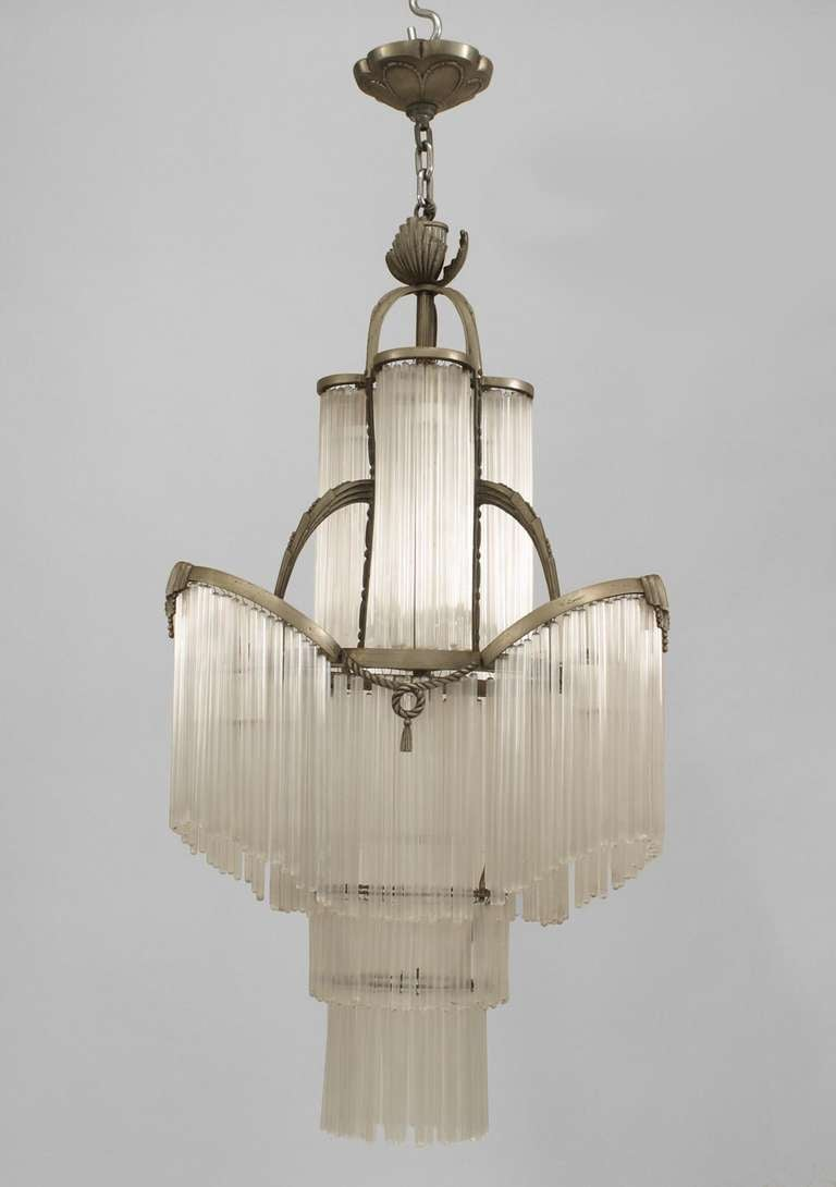 French Art Deco Glass Fringe Chandelier At 1stdibs