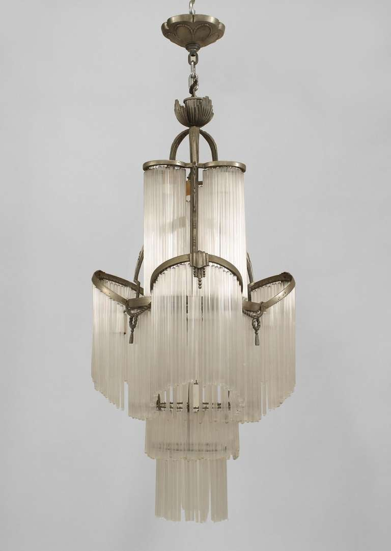 French art deco glass fringe chandelier at 1stdibs - Deco glace ...