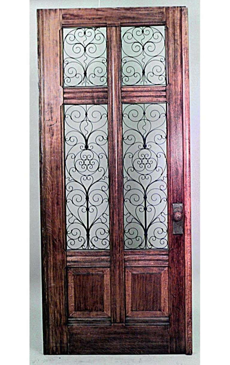 Large 19th C. Italian Oak And Glass Door With Copper Filigree 2