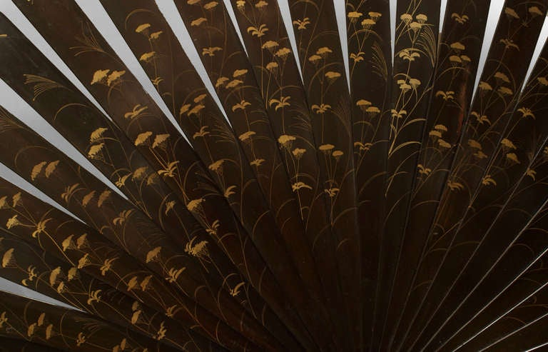 Monumental 19th c. Japanese Folding Fan with a Coromandel Base For Sale 1