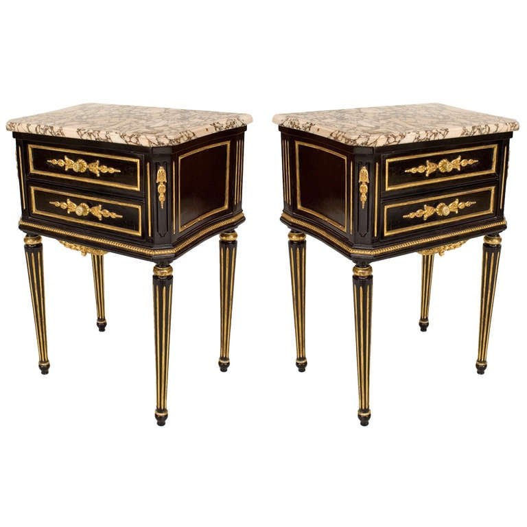 Pair of Louis XVI Style Marble Top Ebonized Nightstands, by Maison Jansen