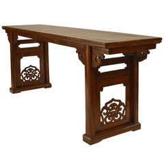 Large 19th c. Chinese Console Table with Carved End Panels