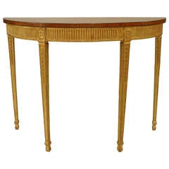 English Adam Gilt Demilune Console