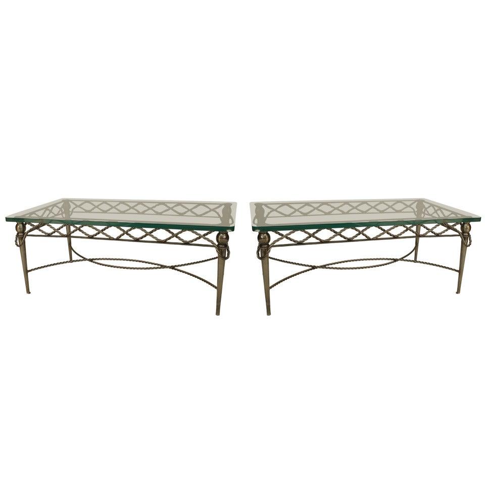 2 Italian Mid-Century Modern Steel and Glass Coffee Tables