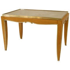French Art Deco Mirror Top Coffee Table Attributed to Jules Leleu