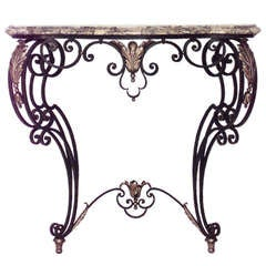 19th c. French Wrought Iron and Marble Bracket Console