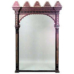 Large Late 19th C. Moorish Red And Gold Painted Archway