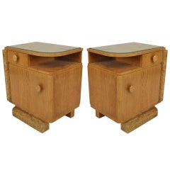 Pair of French Art Deco Oak and Burl Wood Nightstands