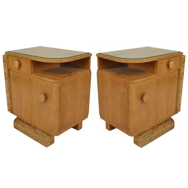 Pair of French Art Deco Oak and Burl Wood Nightstands For Sale