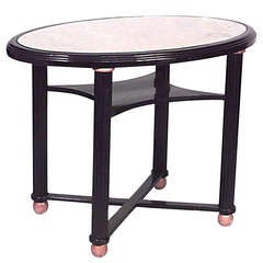 Turn of the Century Glass and Ebonized Wood Oval Center Table