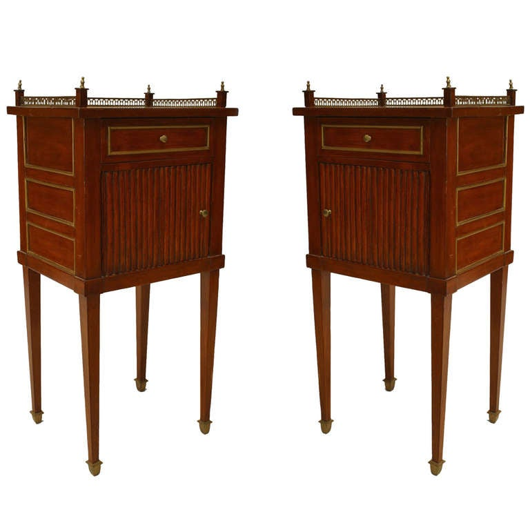 Pair of Louis XVI Mahogany and Brass Bedside Commodes