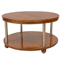 French Art Deco Rosewood and Chrome Coffee Table
