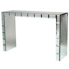 French Art Moderne Mirrored Console