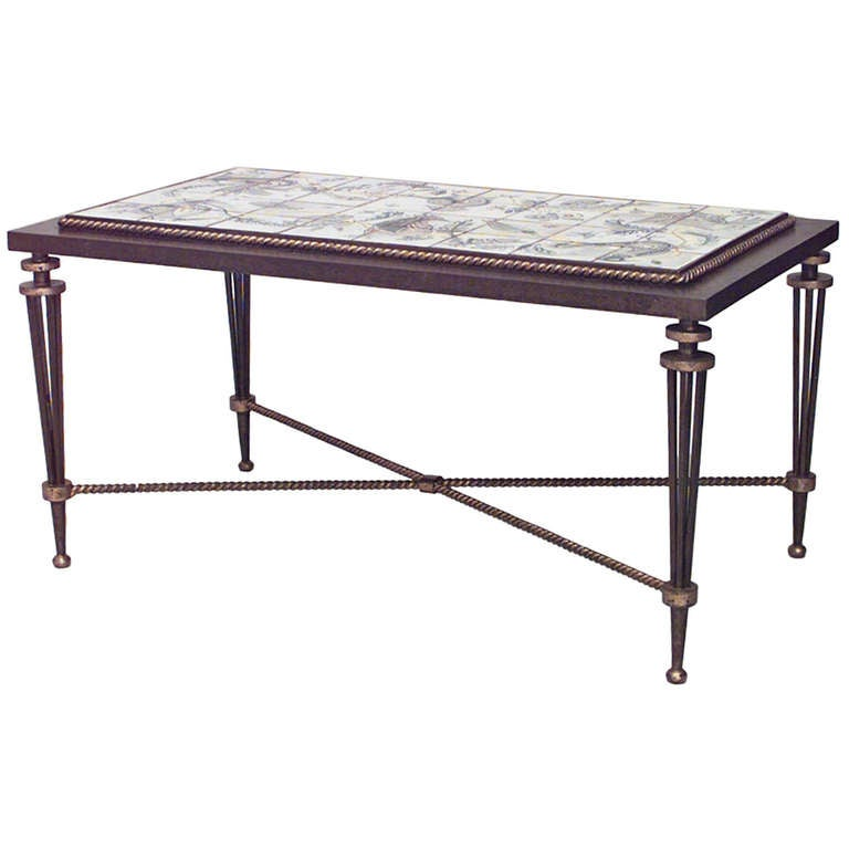 French wrought iron and tile coffee table attributed to for Wrought iron coffee table for sale