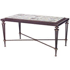 French Wrought Iron and Tile Coffee Table, Attributed to Poillerat