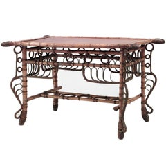 19th c. French Bamboo and Leather Center Table