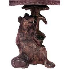 Rustic Black Forest Carved Bear Form Center Table