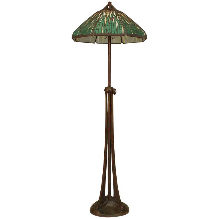 American Bronze and Stained Glass Floor Lamp by Handel For Sale at ...