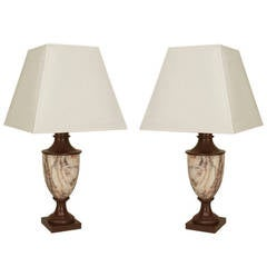 Pair of Late 19th Century Italian, Neoclassical Marble Table Lamps
