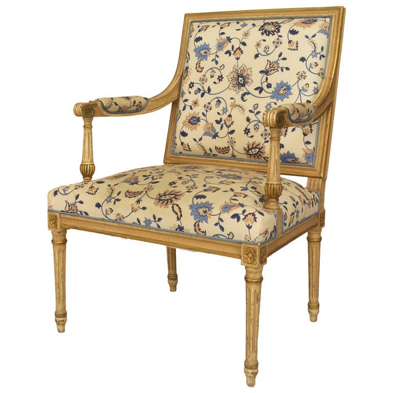 20th c. Louis XVI Style Gilt-Trimmed Open Armchair For Sale