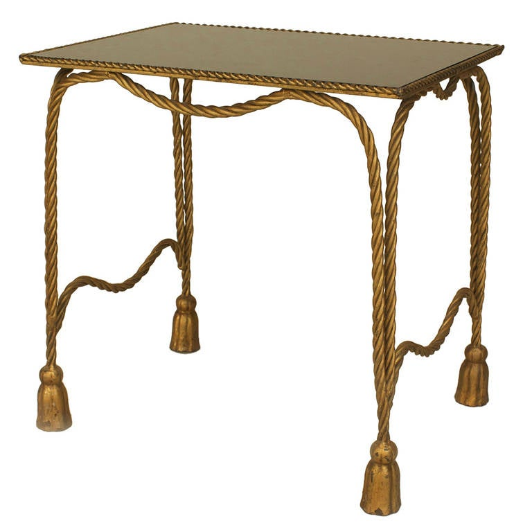 Awesome 1940u0027s Italian Gilt Metal Rope And Tassel End Table 1
