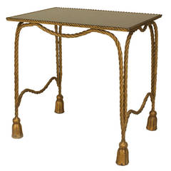 1940's Italian Gilt Metal Rope and Tassel End Table
