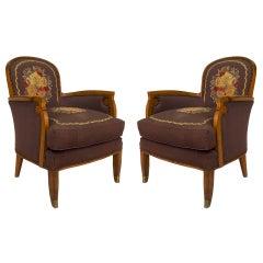 Pair of Jules Leleu French Art Deco Bergerés Armchairs