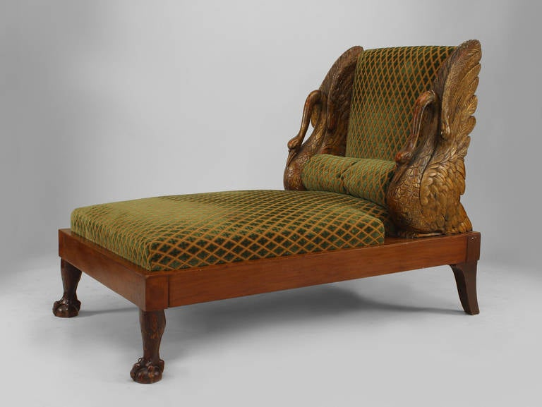 Swan Modern Platform Bed: Small Finely Carved Russian Swan Recamier, Circa 1810 For