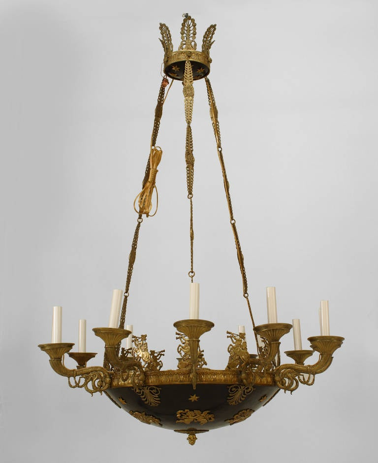 19th C French Empire Ebonized Bronze Chandelier For Sale